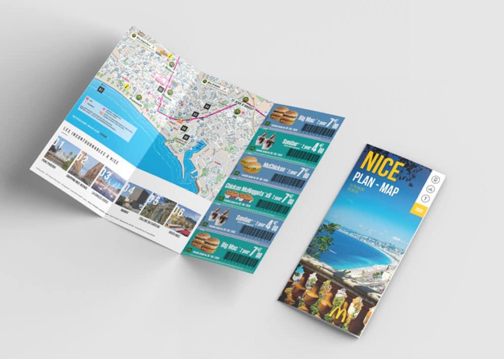 Edition Plan de Nice offert par Mc donalds avec des bons de réduction